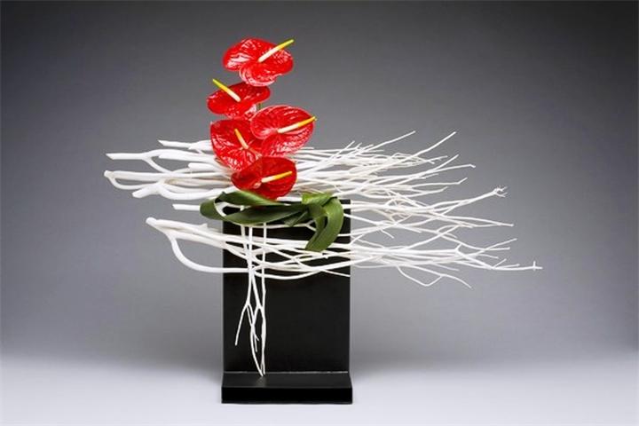 декоративное цветоводство - экибана цветы красные