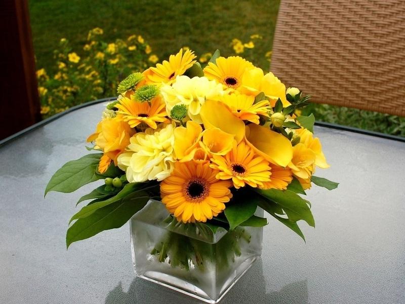 декоративное цветоводство - экибана цветы желтые