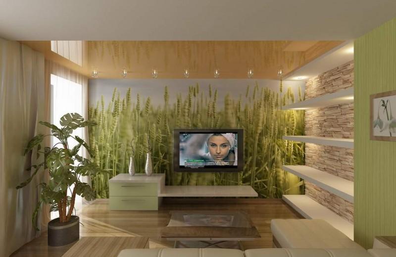 Озеленненый зал с телевизором, озеленение и растительный дизайн комнат